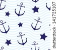 Nautical seamless background - stock vector