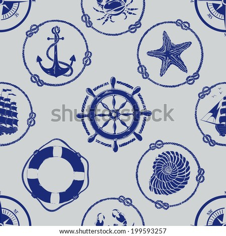 Nautical seamless pattern with anchor, wheel, compass, lifebuoy, ship, starfish, seashell and crab - stock vector