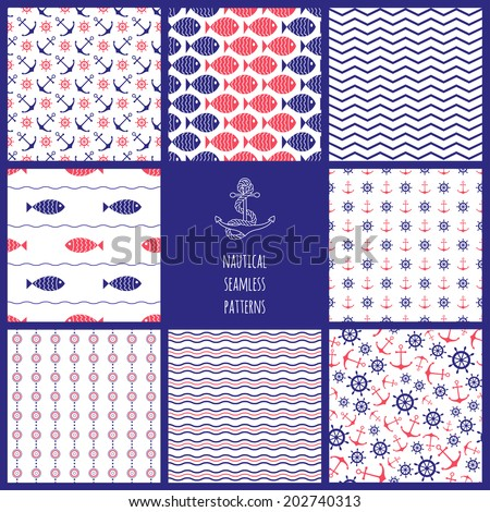 Nautical seamless patterns set - chevron, waves, anchors, ship wheels and fish. Design elements for wallpapers, baby shower invitation, birthday card, scrapbooking, fabric print etc. - stock vector