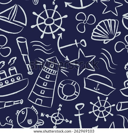 nautical sketch doodle vector icons seamless blue pattern eps10 - stock vector