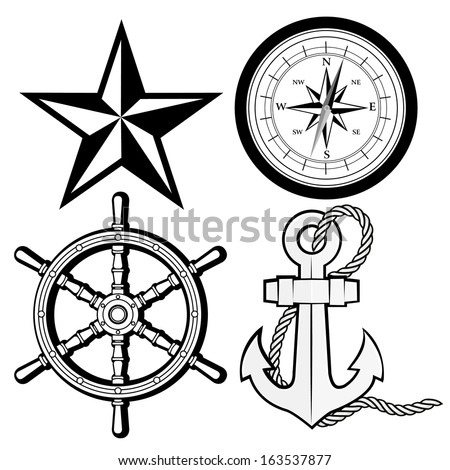 NAUTICAL STAR, COMPASS, RUDDER AND ANCHOR AND ROPE OUTLINE VECTOR - stock vector