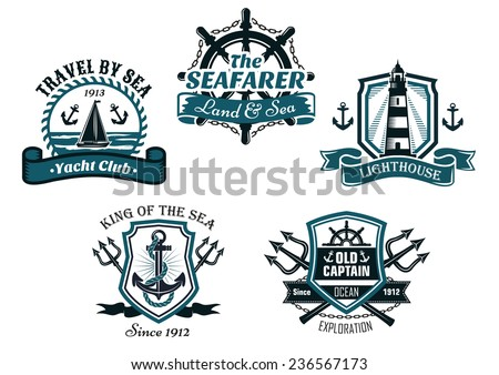Nautical various heraldic emblem and symbols designs with travel by sea, yacht club, seafarer, lighthouse, king of the sea and old captain badge elements - stock vector