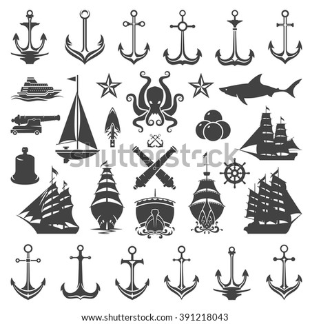 Nautical Vector Design Elements. Anchors and Ships Silhouettes Isolated On White Background. Vector objects for Labels, Badges, Logos Design. Marine, Ocean Cruise Icons, Helm and Octopus Symbols. - stock vector