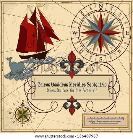 Nautical vector illustration with wind-rose, ship and whale Wind-rose and vintage frame - stock vector