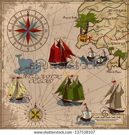 Nautical vector illustration with wind-rose, ships, fishing boat, whale, sword fish, treasure Card Retro art Old map - stock vector