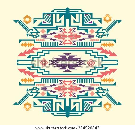 Navajo - Aztec colored big pattern vector illustration - stock vector