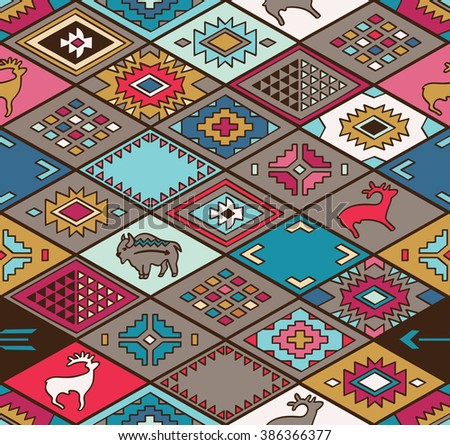 Navajo ornamental textile with rhombus. Ethnic print vector pattern background - stock vector