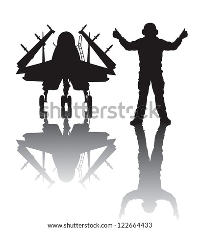 Naval  aircraft and crewman vector silhouette with reflection - stock vector