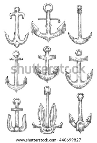 Naval anchorage devices isolated sketch icons of fisherman anchors with tiny flukes, admiralty anchors with curved arms and navy stockless anchors with raised broad flukes - stock vector