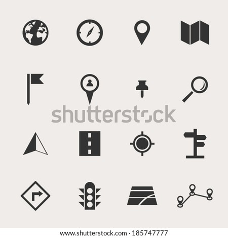 Navigate Icon Set - stock vector