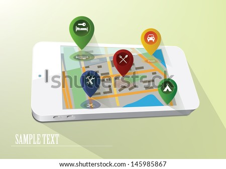 Navigation and map on the screen of smartphone - stock vector