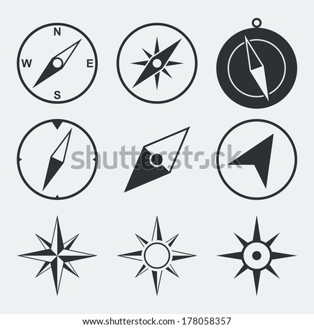Navigation compass flat icons set isolated vector illustration - stock vector