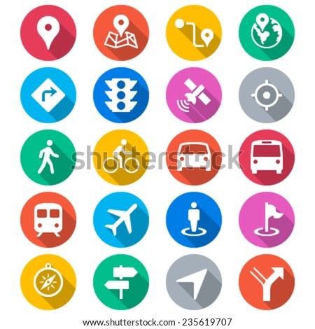 Navigation flat color icons - stock vector