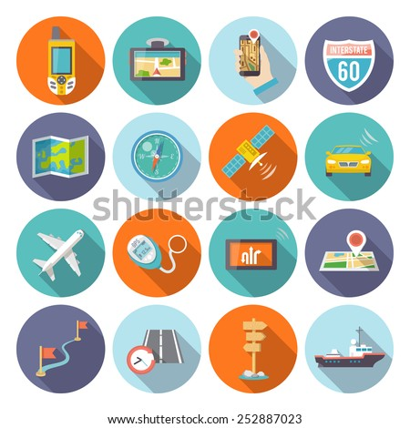 Navigation flat icons set with satellite GPS cell phone system symbols round shadow abstract isolated vector illustration - stock vector