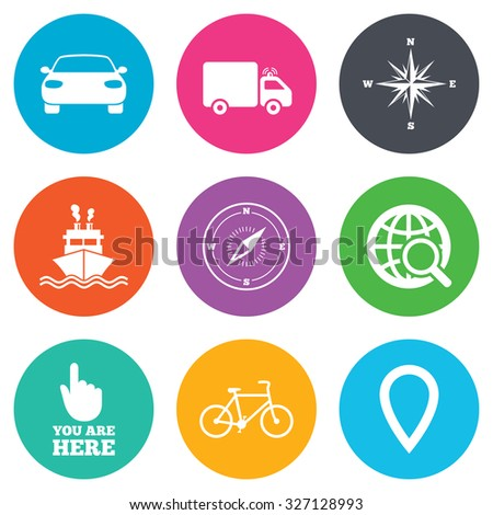 Navigation, gps icons. Windrose, compass and map pointer signs. Bicycle, ship and car symbols. Flat circle buttons. Vector - stock vector