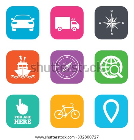 Navigation, gps icons. Windrose, compass and map pointer signs. Bicycle, ship and car symbols. Flat square buttons. Vector - stock vector