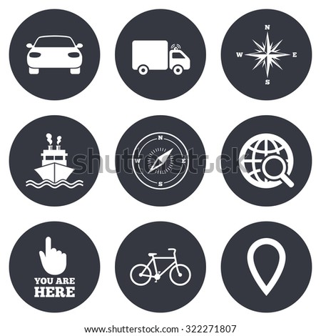 Navigation, gps icons. Windrose, compass and map pointer signs. Bicycle, ship and car symbols. Gray flat circle buttons. Vector - stock vector