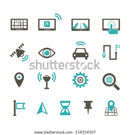 Navigation Icon - Color - stock vector