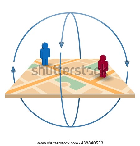 Navigation icon. 3D navigation map with pin pointers. - stock vector