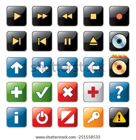 Navigation icons - stock vector