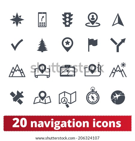 Navigation icons: vector set of map, direction, cartography and locations - stock vector