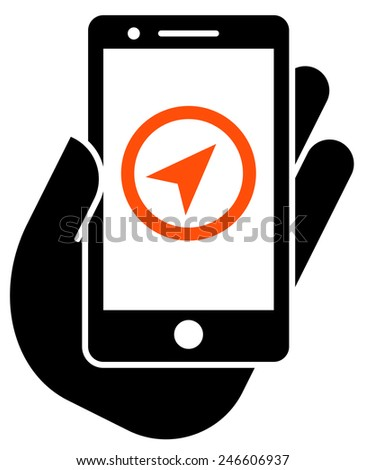 Navigation in smartphone icon - stock vector