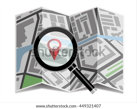 Navigation map with pin and magnifier. Flat design style. - stock vector