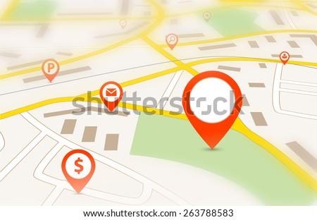Navigation map with red empty pin pointer and tilt-shift effect  - stock vector