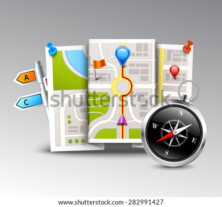 Navigation realistic background with compass map and distance points vector illustration - stock vector