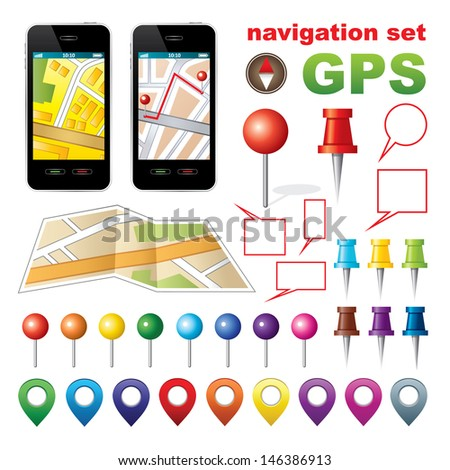 Navigation set with icons GPS.  vector, gradient, EPS10 - stock vector