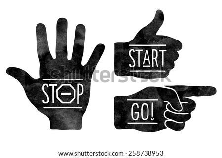 Navigation signs. Black hands silhouettes - pointing finger, stop hand and thumb up. Stop, Start, Go. Vector illustration - stock vector