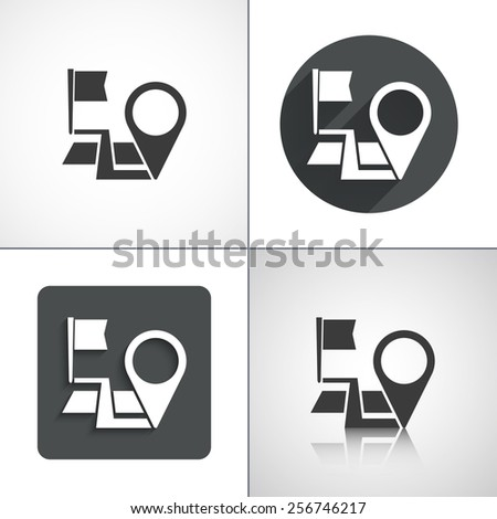 Navigation, start point, end point icons. Set elements for design. Vector illustration. - stock vector