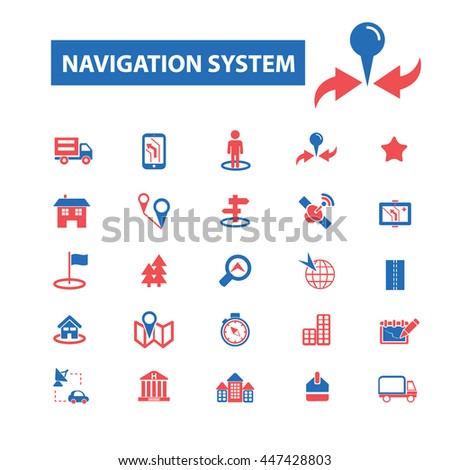 navigation system, location, map, direction, route, car logistics, travel, positioning, compass, cartography, road, journey, searching icons, signs vector concept icons - stock vector