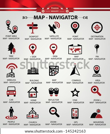 Navigator icons,Red version,vector - stock vector
