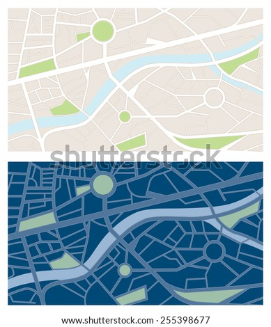 Navigator maps banner set with night vision, letterbox size - stock vector