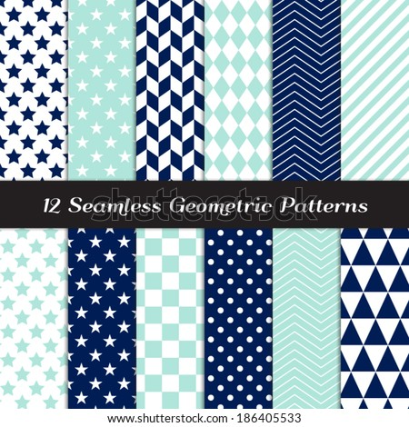 Navy Blue, Aqua and White Geometric Seamless Patterns. Nautical Backgrounds in Diamond, Chevron, Polka Dot, Checkerboard, Stars, Triangles, Herringbone & Stripes. Pattern Swatches with Global Colors. - stock vector