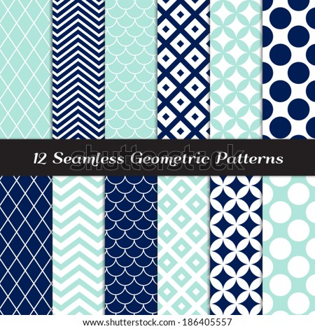 Navy Blue, Aqua and White Retro Geometric Seamless Patterns. Nautical Mod Backgrounds in Jumbo Polka Dot, Diamond Lattice, Scallops, Quatrefoil and Chevron. Pattern Swatches made with Global Colors. - stock vector
