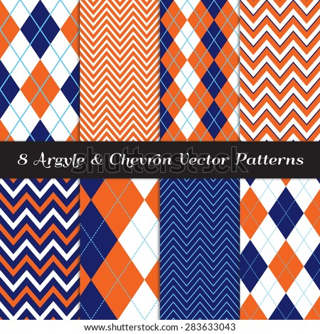 Navy Blue, Orange and White Argyle and Chevron Patterns. Sky Blue Accent Lines. Vector EPS File Includes Pattern Swatches Made with Global Colors. - stock vector