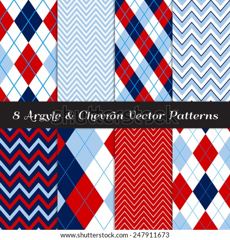 Navy, Blue, Red and White Argyle and Chevron Patterns. Modern Backgrounds for Golf or Independence Day Illustrations.Vector EPS File Contains Pattern Swatches Made with Global Colors. - stock vector