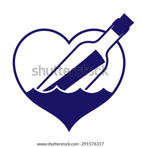 Navy colored heart-shaped message in a bottle icon depicting search for love, bottle floating in choppy waters for use as a design element, vector illustration - stock vector