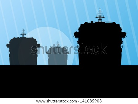 Navy military battleships with guns in ocean landscape background illustration vector - stock vector