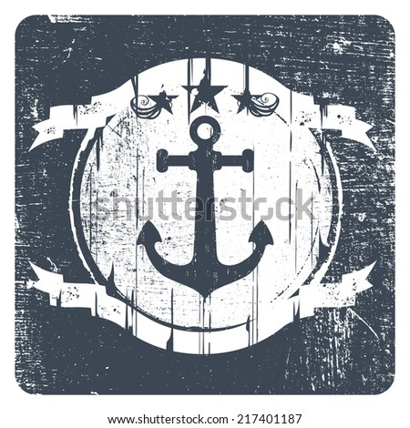 navy vintage shield with anchor - stock vector