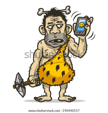 Neanderthal man holds mobile phone - stock vector