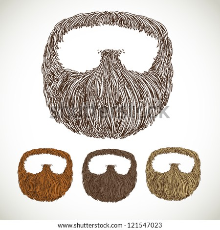 Neat beard in color variations - stock vector
