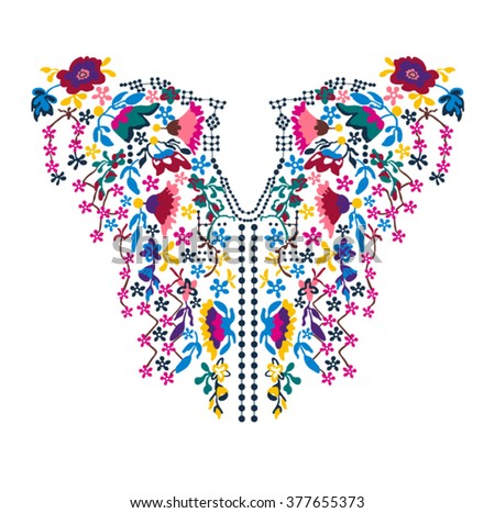 Neck embroidery in vector. - stock vector