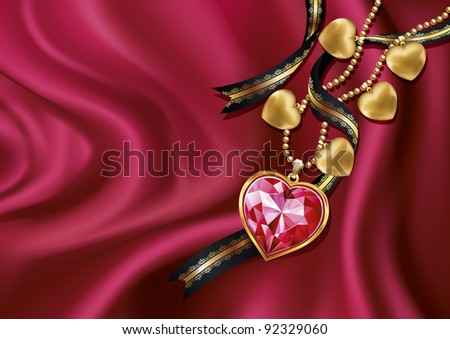 Necklace heart on red silk. Vector illustration. - stock vector