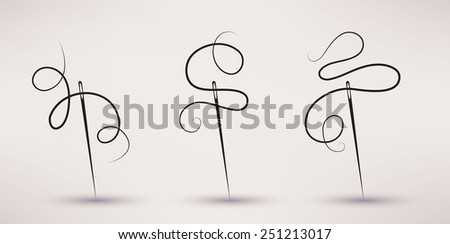 needle and thread icon vector set in flat style - stock vector