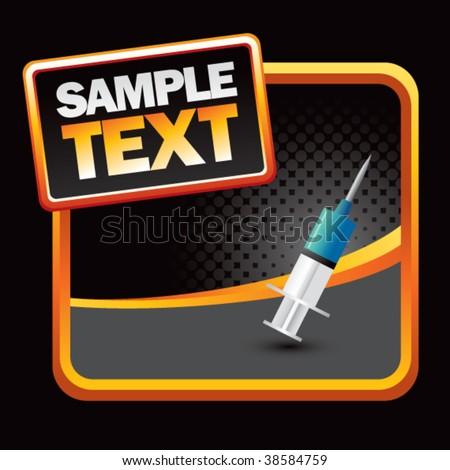 needle syringe on stylized banner - stock vector