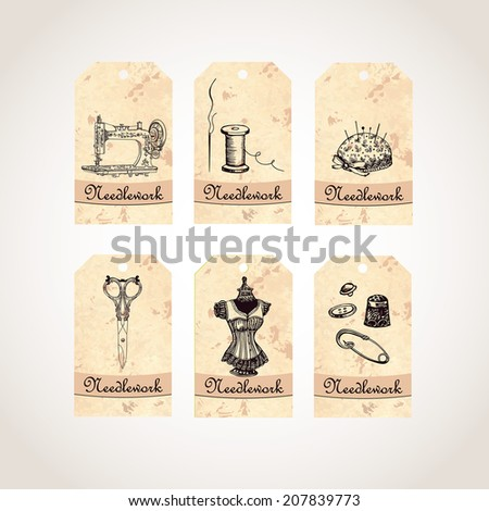 Needleework  Cards. Vector illustration. Hand drawing. Set of labels with graphic illustrations. - stock vector
