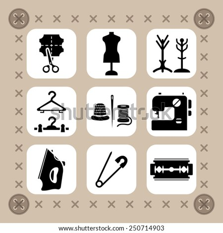 Needlework, sewing and knitting vector icon set - stock vector